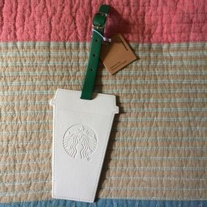 Starbucks Luggage Tag white embossed siren logo